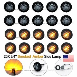 20x Round 12v 3 4 Black Smoked Amber Yellow Side 3 Led Marker Bullet Light Us
