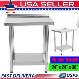 Commercial 24 x30 Kitchen Stainless Steel Work Prep Table With 2 Ba