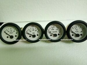 2 52mm Electrical Oil Pressure Temp Volt Fuel Gauge White Face Black Bezel