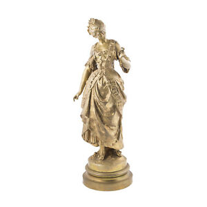 Gilt French Bronze Female Figure By August Moreau
