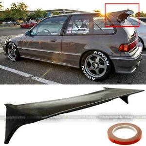For 88 91 Jdm Honda Civic Hatchback Si J Style Rear Trunk Lip Roof Wing Spoiler