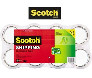 Scotch Sure Start Shipping Packaging Tape 1 88 Inches X 54 6 Yards Ea 8 rolls