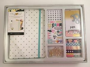 Maggie Holmes Planner Kit Monthly Weekly Calendar White Gold Polka Dots