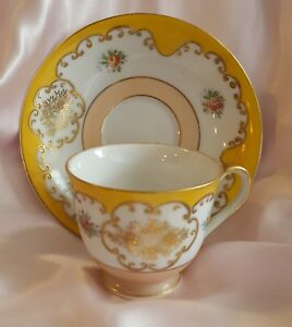 Vintage Antique Miniature Hand Painted Tea Cup Saucer Made In Occupied Japan