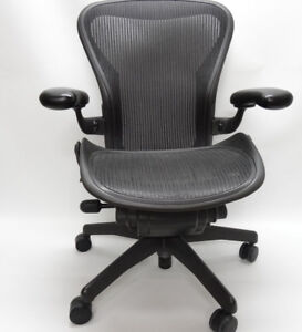 Herman Miller Aeron Black Office Chair Size B two Dots Under The Back Rest