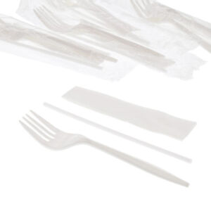 Medium Weight White Plastic Cutlery Kits With Fork Napkin Straw Case Of 1000