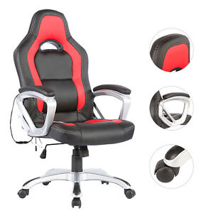 Racing Car Office Chair Heated Vibrating Executive Ergonomic Computer Chair Red