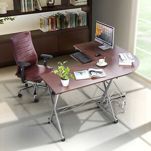 L shaped Corner Computer Desk Pc Laptop Table Workstation Home Office Wood