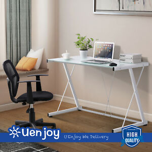 Pc Laptop Glass Table White Computer Desk Workstation Office Home Furniture New