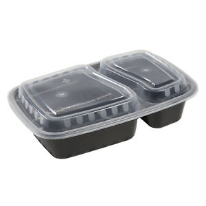 2 Compartment Black 32oz Rectangular To go Container And Lid Combo Case Of 150