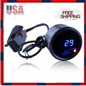 2 52mm Black Cover Car Digital Blue Led Psi Turbo Boost Gauge Meter Universal
