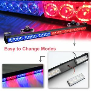27 24led Warning Emergency Strobe Light Bar W suction Cup And Cigarette Lighter