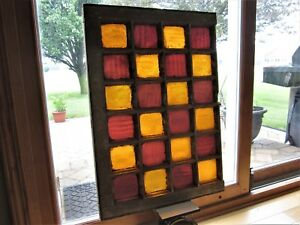 School Colors Primitive Stained Glass Windows Victorian Old Gold Red Wavy Glass