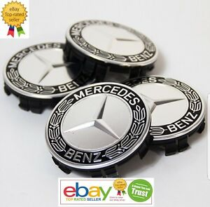 Mercedes Benz Center Caps Black Laurel Wreath 3 Inch 75mm Fits Most Models 4x