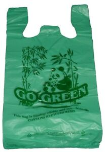 Green Bio degradable Plastic T shirt Bags handles Shopping 11 5 x6 x21 Lot 400