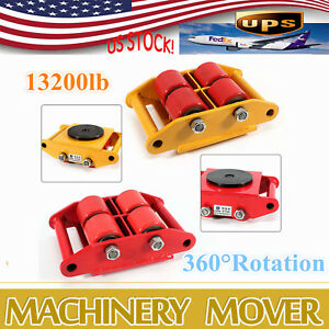 6t Heavy Duty Industrial Dolly Machinery Mover Rollers 360 rotation Cap 13200lbs