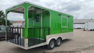 New 8 5x20ta Concession Food Trailer With 6 Rear Porch Triple Sinks And More