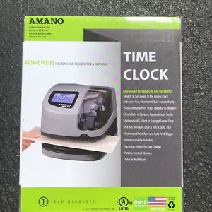 New In Sealed Box Amano Atomic Pix 95 Electronic Time Clock Free Shipping