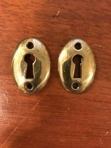 2 Antique Vintage Style Oval Brass Key Hole Escutcheon Cover 1 1 8 X 1 11 16
