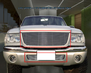 Polished Billet Grille Grill Combo For Ford Ranger Xlt 4wd Edge 4wd 01 03