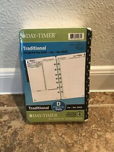 Day timer 2019 Planner Refill 2 Page Per Day Traditional Black Tabs Daily Size 4