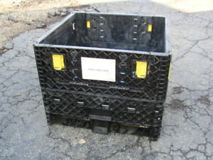 Industrial Heavy Plastic Collapsible Container 30 X 32 X 25 Wip Finished Storage
