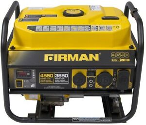Firman Generator Gas Powered 3650 4550 watt Portable Recoil Start Quiet Muffler