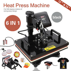 6 In 1 Digital Heat Press Machine Transfer Sublimation For T shirt hat Plate New