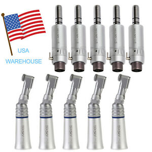 5 Set Dental Low Speed Contra Angle Handpiece E Type Air Motor 2 Hole Fit Nsk