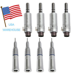 4 Set Dental Low Speed Straight Nosecone Handpiece E Type Air Motor 2h Fit Nsk