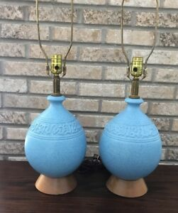 Vintage Set 2 Mid Century Modern Danish Lamps Teak Table Speckled Pottery Blue