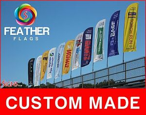 12 Full Color Custom Swooper Advertising Flag Feather Banner Pole