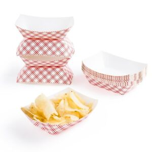 Food Trays Paper Disposable Fair Festival Party Picnic School Corn Dog Fries New