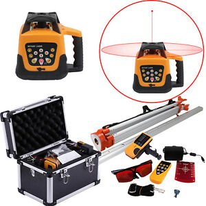 500m Automatic Self leveling Rotary Rotating Red Beam Laser Level Tripod Staff
