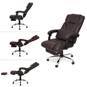 New Office Chair Reclining Executive Headrest Footrest High Back Armchair Brown