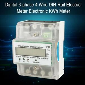 Xtm024 Digital 3 phase 4 Wire Din rail Electronic Kwh Meter With Cover New Hby