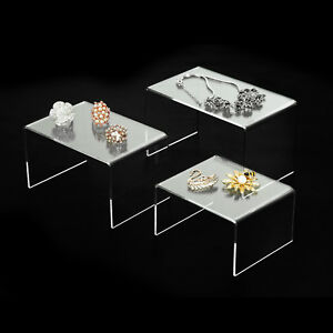 Set Of 3 Pack Clear Acrylic Risers Jewelry Display Stands 5 6 7 Large