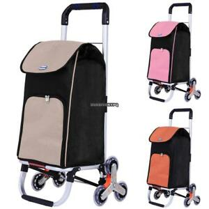 Stainless Steel Folding Shopping Cart Stair Climb Rolling Cart Trolley With Bag