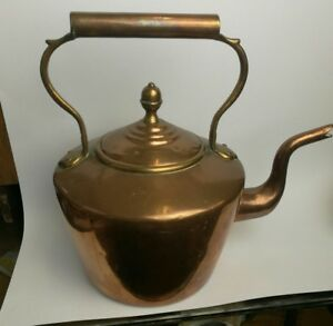 Antique Copper Kettle Brass Detail Large Display Piece Or For Use A