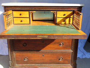 Fantastic 1860 Rosewood Victorian Marble Top Secretary Dresser Butlers Chest