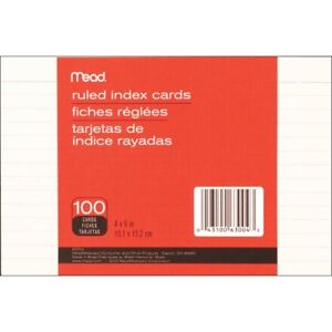 Mead Index Cards 4 x6 100 pkg ruled White