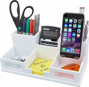 Victor Wood Desk Organizer With Smart Phone Holder Pure White w9525