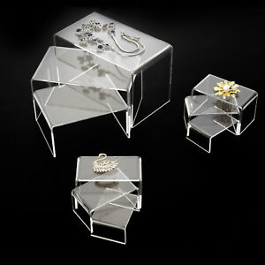 Bn 9 Clear Acrylic Risers Set Showcase Jewelry Display Stands New