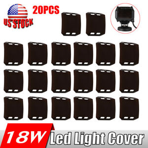 20pcs Snap On Brown Lens Cover For 4inch 18w Led Work Light Offroad Atv Fog Lamp