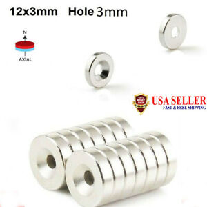 2 100 Strong Countersunk Ring Magnets Rare Earth Neodymium 3mm 12 X 3mm Hot