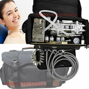 Dentist Use Black Bag Dental Turbine Unit Air Compressor Suction syringe 4 Hole