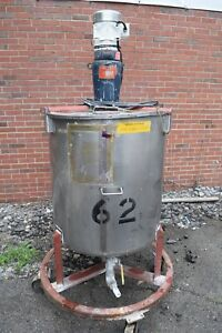 100 Gallon Stainless Steel Mixing Tank W Nettco Mixer Bottom Outlet O