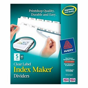 Avery Index Maker Clear Label Dividers 8 5 X 11 Inch 5 Tab White Tab 50