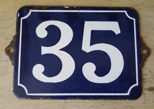 Antique French Industrial Traditional Blue White Enamel Door House Number 35