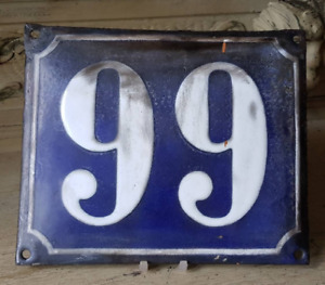 Antique French Industrial Traditional Blue White Enamel Door House Number 99